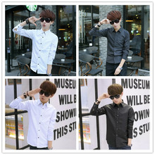 2015 men's clothing long-sleeve slim shirt lst polka dot casual elegant personalized shirt