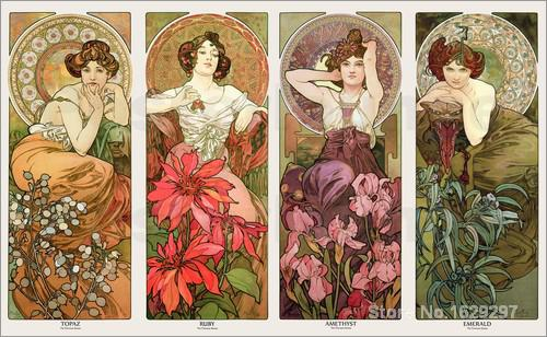 c79fdfddff0 art for sale The precious stones and flowers by Alphonse Mucha canvas  Handmade High quality-in Painting   Calligraphy from Home   Garden on  Aliexpress.com ...