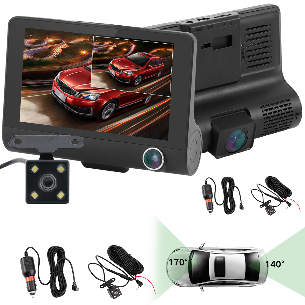 Image 3 - Car DVR Dash Camera Full HD 1080P 4.0 Inch Three Camera IPS Screen Car Camera Dash Cam Driving Video Recorder Car accessories-in DVR/Dash Camera from Automobiles & Motorcycles
