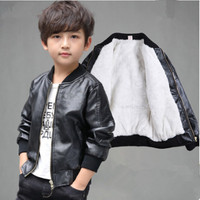 IIMADFWIW Boys Leather Jackets Fashion Solid Stand Collar Faux Leather Coat Outerwear Children Tops Black Blue Coffee 90 170