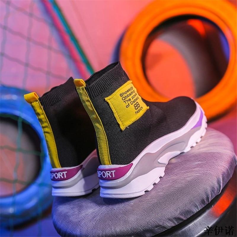 Casual Bleu Top forme 2019 Feminino Sneakers Noir High Plate Supérieure Respirant Tenis Mode Femmes Tricot jaune jaune Chaussures Nouveau bleu Femme x4g6znpn