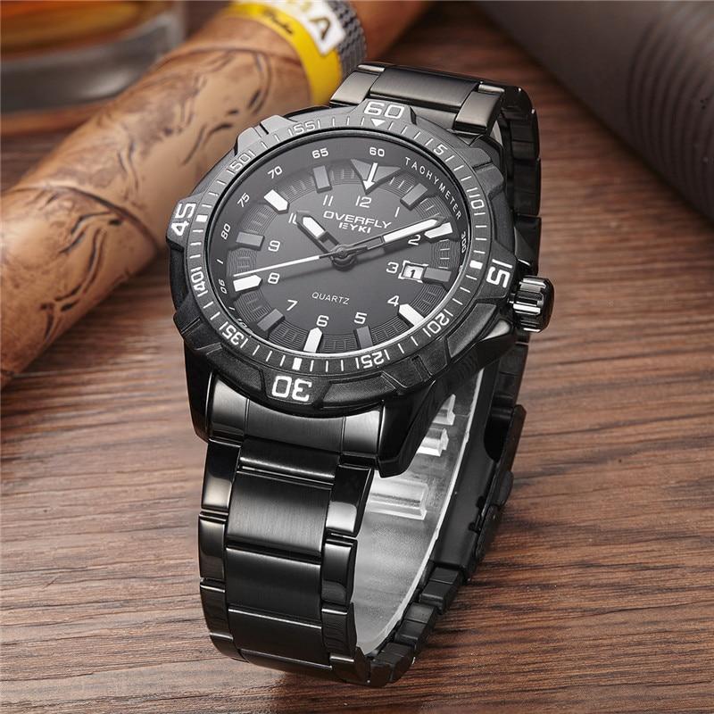 EYKI Sports Mens Watches Top Brand Luxury zegarki meskie Waterproof Stainless Steel Band Man Quartz Wrist Watch Male Clock Black