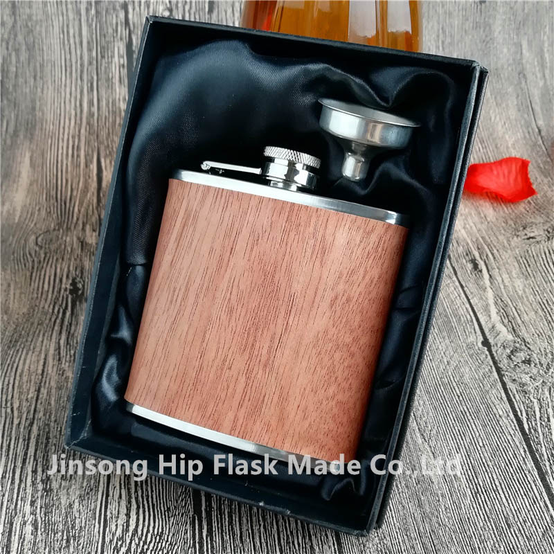50PCS 6OZ Red wooden wrapped leather hip flask logo free engraved True wooden