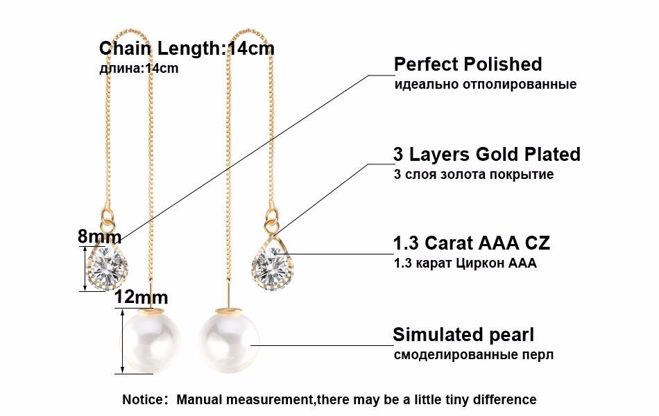 Effie Queen Fashion Cute Ear Wire Earrings Female Models Long Drop Crystal Imitation Pearl Jewelry Dangle Earrings Brincos DDE26 11