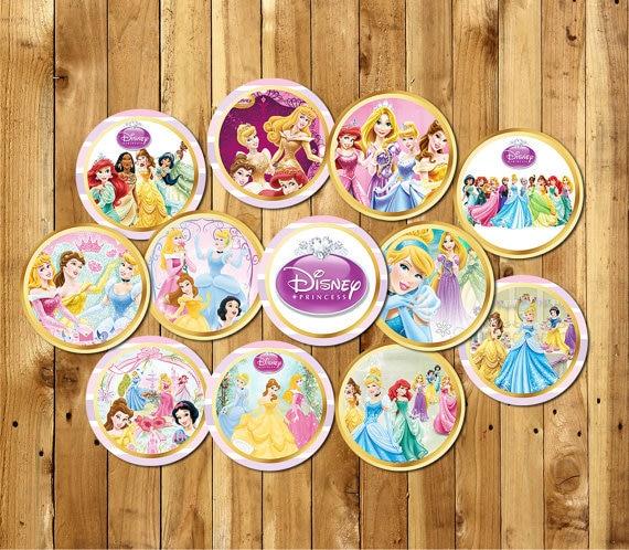 Princess Snow White Mermaid Jasmine Party Sticker Toppers Birthday