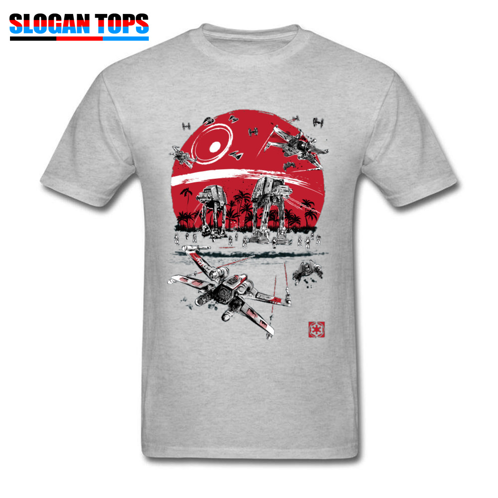 2019 Star Wars T-shirt Men Cotton Tshirt Grey T Shirts Battle On The Beach At-At AtAt Galactic Empire Tops Tees Rebel Boba Fett
