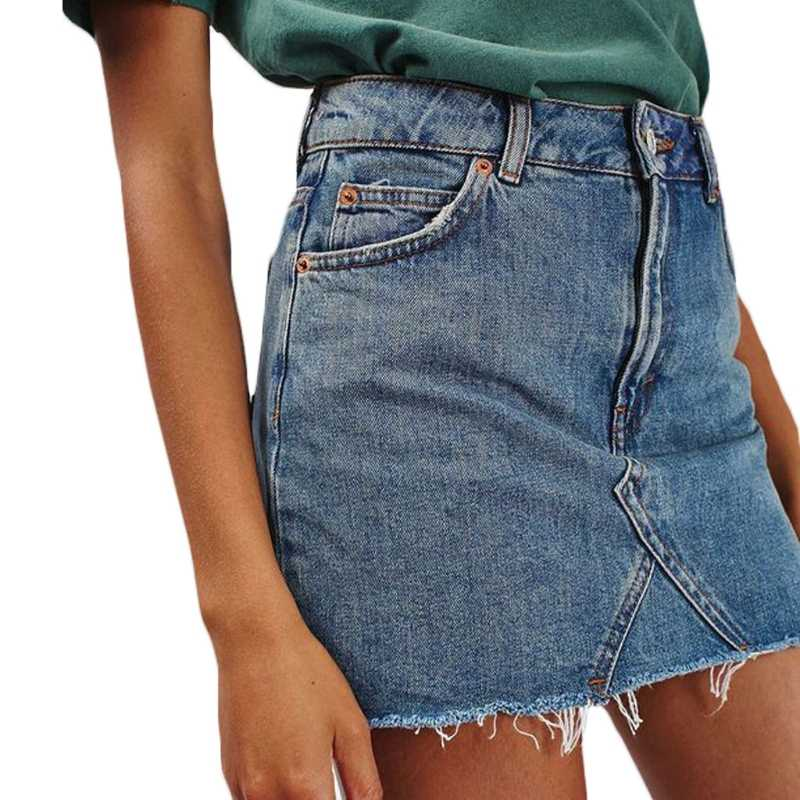 74b0c0672 Falda corta de mezclilla de verano a la moda para mujer pantalones ...