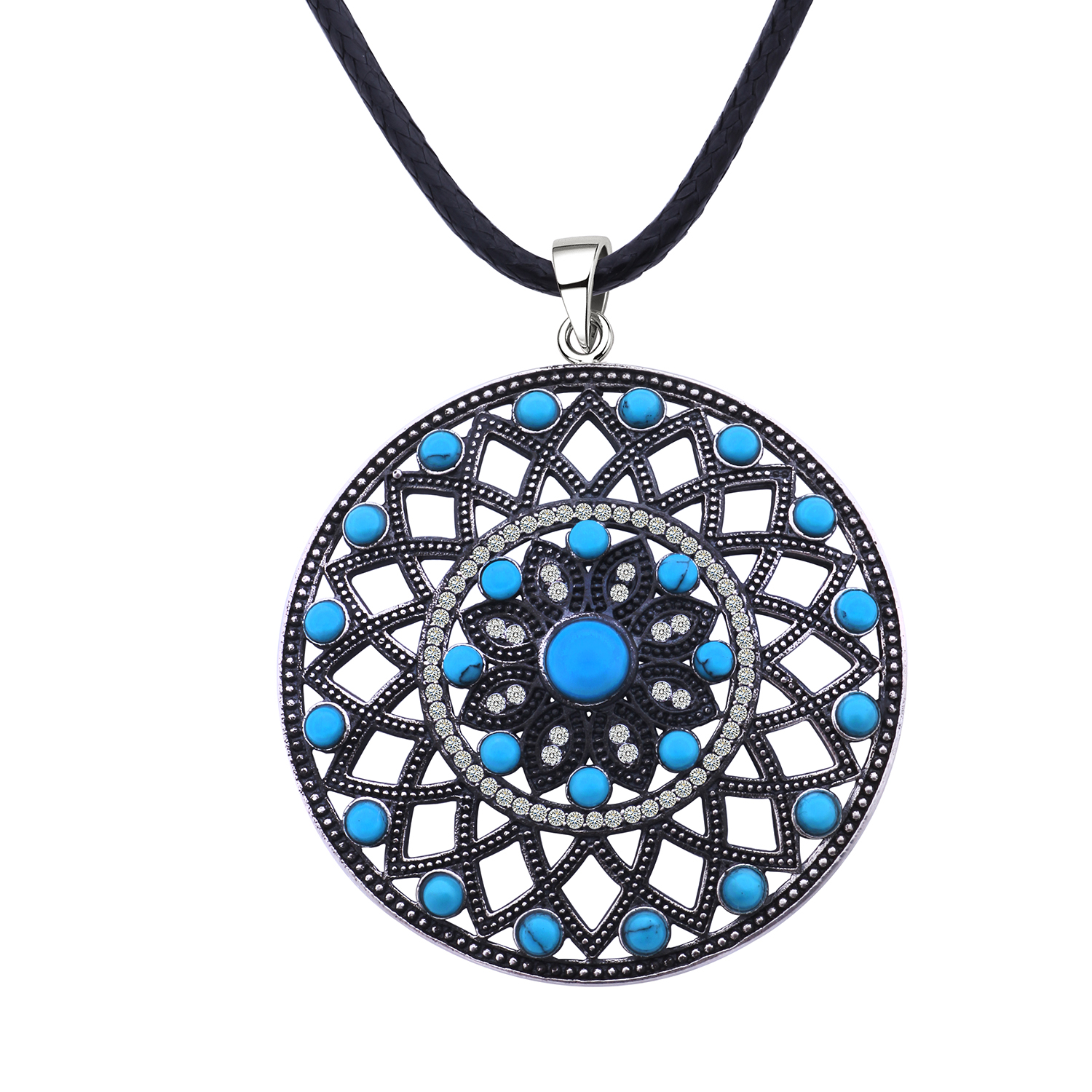 MetJakt Vintage Big Pendant Sweater Chain with Natural Turquoise 925 Sterling Silver Zircon Pendant Necklaces Free Leather Chain vintage faux turquoise moon feather shape pendant sweater chain for women