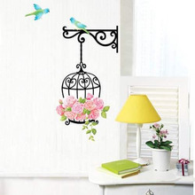 Delicate New Fashion Wall Decal Sticker Home Decor Vinyl Removeable Mural Sticker Hot Selling Bird Cage Design Waterproof Decal