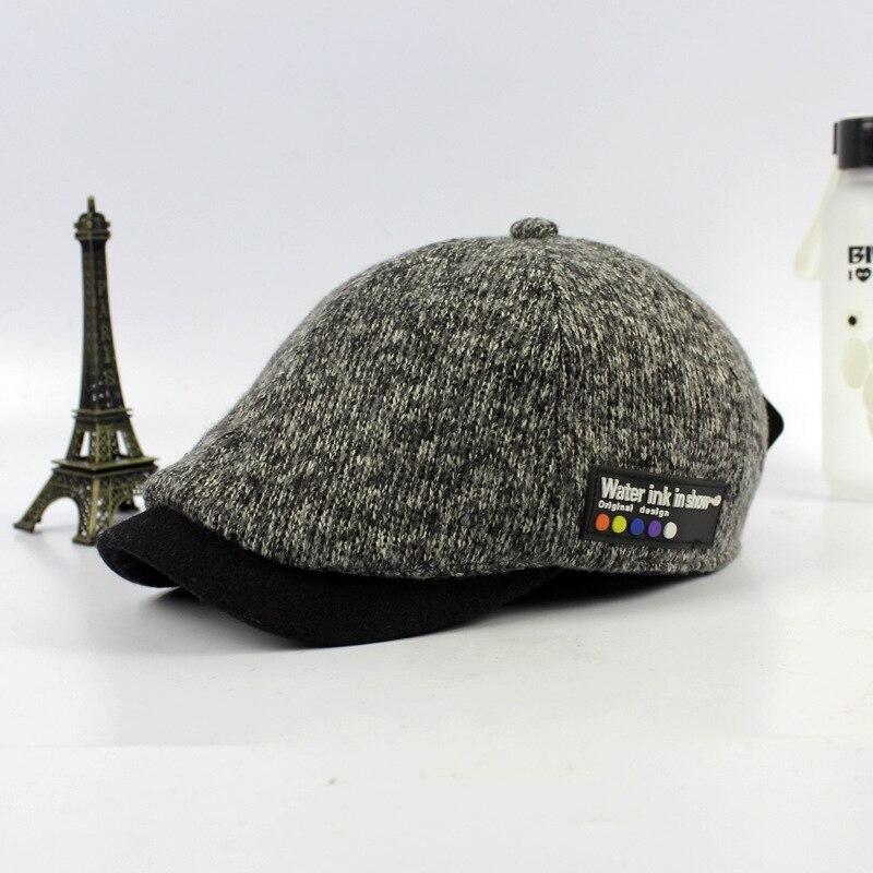 Prix pour Le automne hiver laine BÉRET canard langue chapeau en gros Nouveaux chapeaux pour hommes Dames Vintage tricot laine casquette de baseball