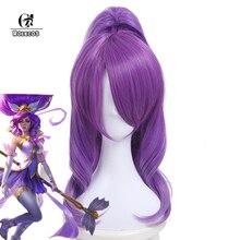 ROLECOS LOL Janna Cosplay Headwear Star Guardian Janna Cosplay Hair Magical Girl Game Cos Long Purple Synthetic Hair 50 55cm