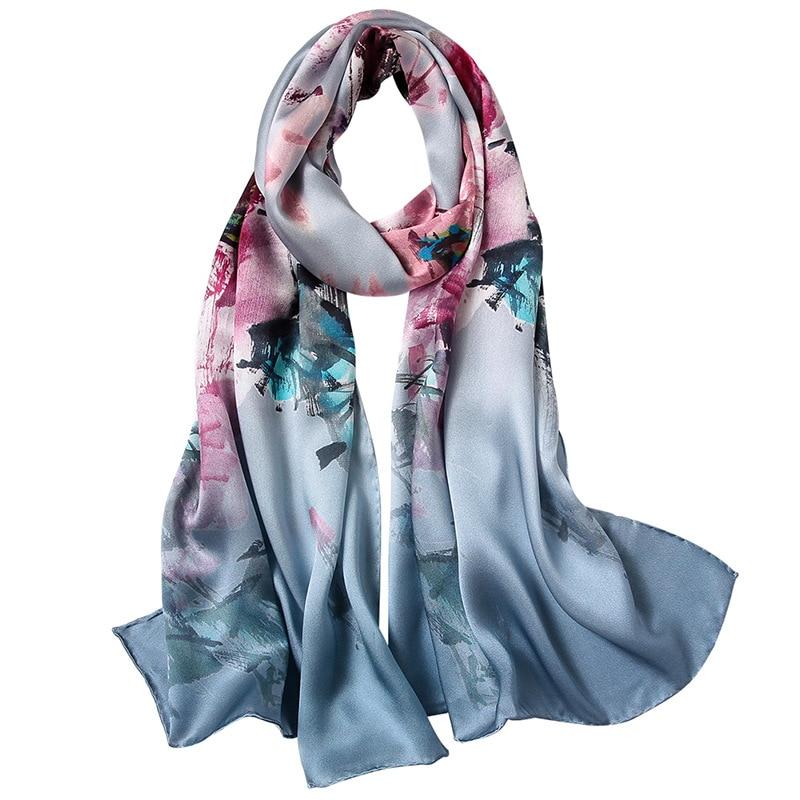Floral Print Long Silk Scarf Women 100% Soft Satin Silk Scarves Wraps Shawl Foulard Female Gifts 170x53cm