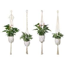 Подвесной, для помещений и улицы растительный держатель корзина льняная веревка настенный мешок цветочный горшок струнная сетка Nacelle садовый горшок 4 шт./компл