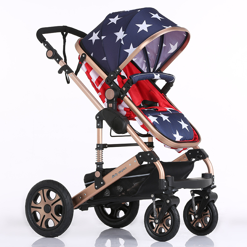 Luxury high landscape shock strollers can sit reclining stroller baby stroller two-way dual summer