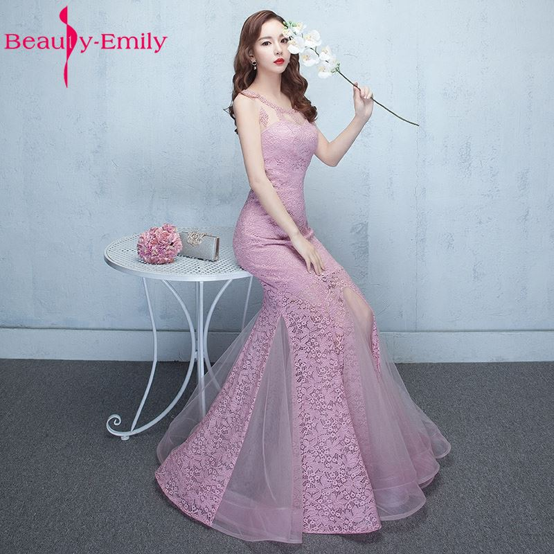Beauty-Emily Mermaid Peals Sexy   Bridesmaid     Dresses   2018 O-Neck Wedding Occasion Bridal Party Prom   Dresses   Vestido de noite