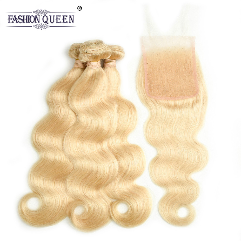 FASHION QUEEN 613 Blonde Hair Brazilian Body Wave Hair 3 Bundles With Closure Weave Bundles 100% Human Hair With 4x4 Closure