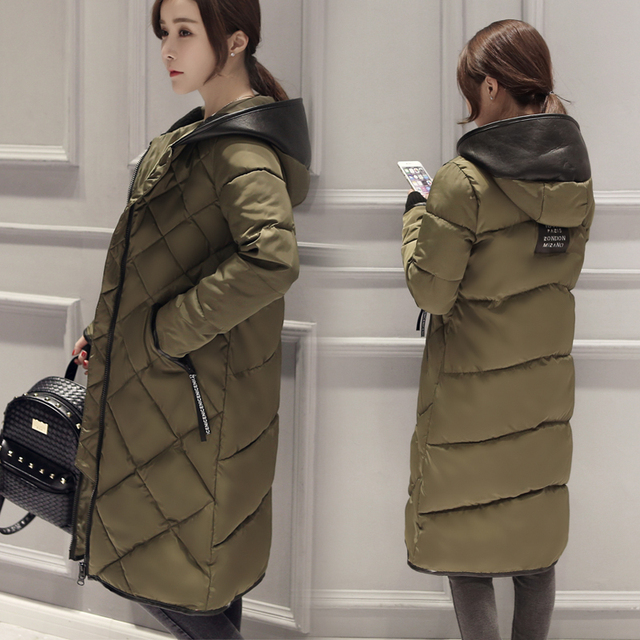 New Down & Parkas 2016 Hooded Winter Jacket Women Plus Size Loose Long Coat Leisure Warm Parkas Women Winter Outwear JX513
