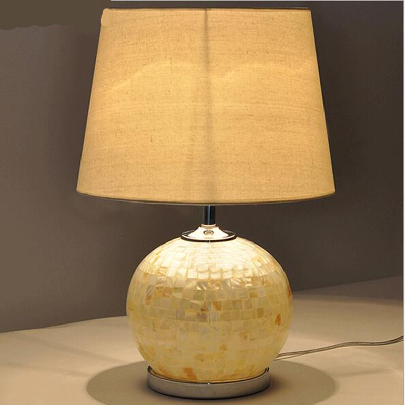 Modern Handmade Tiffany White Glass Fabric Led E27 Table Lamp For Wedding Decor Bedroom  ...
