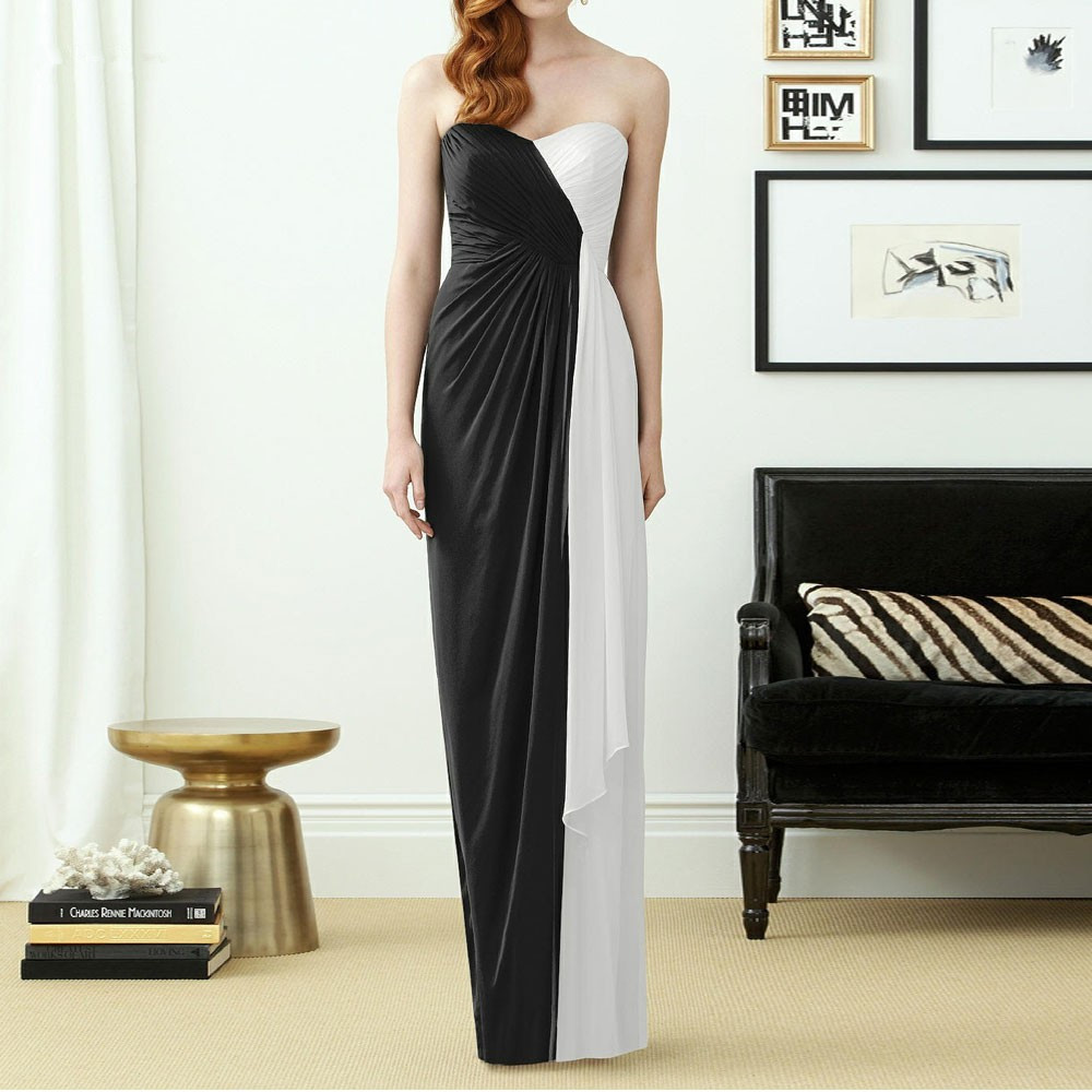 New Arrival Two Tone Black And White Beach Bridesmaid Dresses QQ 23 Sweetheart Robe Demoiselle D 39 honneur Long in Bridesmaid Dresses from Weddings amp Events