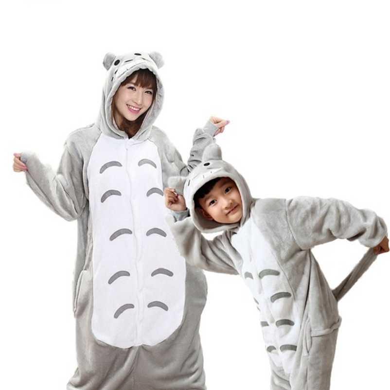 Фланель животных Единорог панды Onesie пижамы Для женщин теплые пижамы Семья подходящая друг к другу одежда для мамы и дочки пижамы