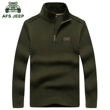 AFS JEEP 2016 men's casual brand winter warm thick pullover male black sweaters man spring high quality 100% cotton knit sweater