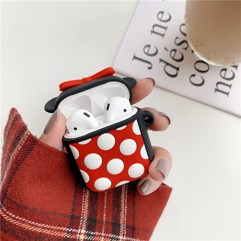 Silicone Case for Airpods Accessories for i10 TWS Bluetooth Earphone Protective Cover Bag Anti-lost Strap Cute Cartoon bear DIY12