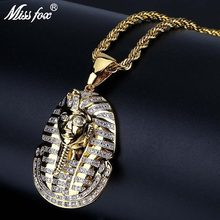 4b35493cf8dc MISSFOX Hip Hop faraón egipcio personalizado collar 24 K chapado en oro AAA Zirconia  cúbica esclavo fe hombres gema collares col.