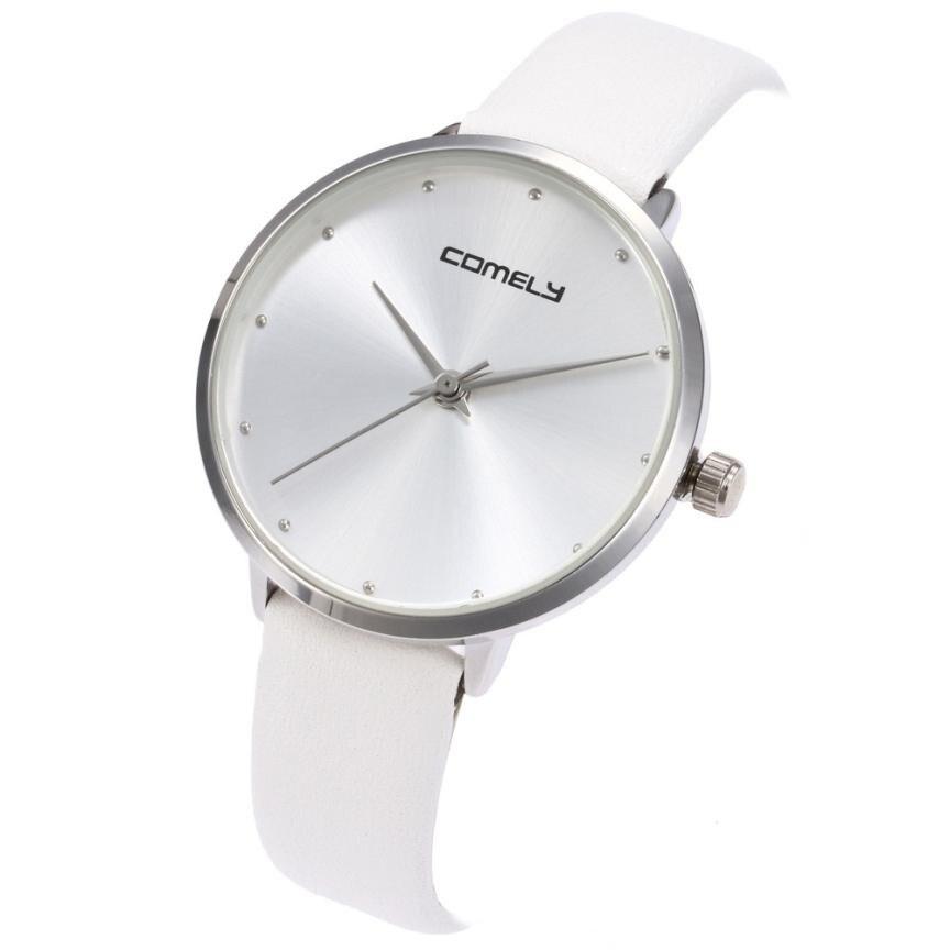 Mujeres Hombres moda minimalista cuero Band Analog Quartz relojes de reloj relojes Uhren Damen reloj xfcs