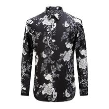 New Autunm High Quality Black Men's Cotton Shirt Plus Size Men Long Sleeve Slim Shirts Casual Floral Print Men Clothing