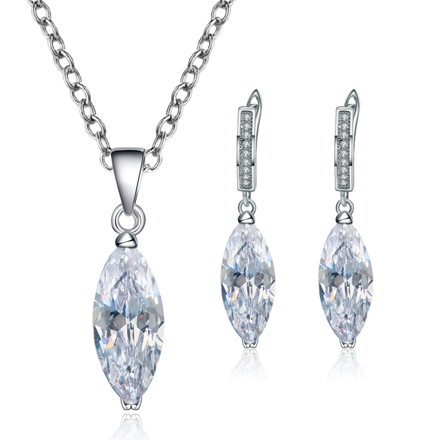 Luxury Silver Color Crystal Jewelry Sets For Women Exquisite New Fashion Neckace Pendant Earring Party Best Jewellery Love Gifts