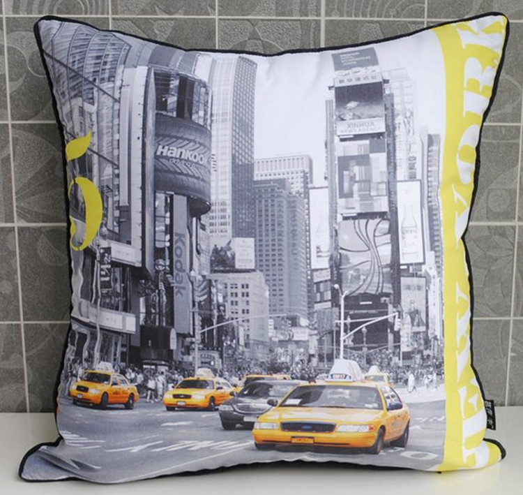 Retro Modern Yellow US New York Taxi Photo Decorative Pillow Case Cushion Cover confessions of new york taxi driver eugene salomon