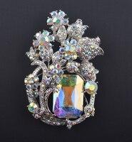 Bridal Wedding Aurora Color Brooches Rhinestone Flower Bouquet Crystal AB Clothes Women S Brooch Pin