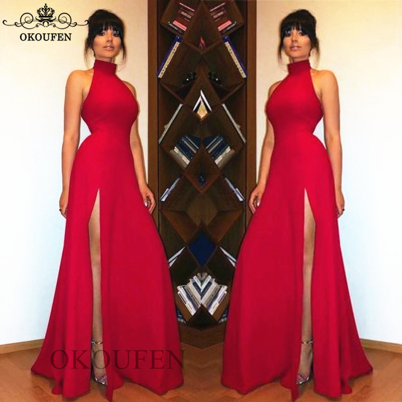 Sexy Side Split Long Prom Dresses For Women High Neck 2019 Red Under 100 Cheap Formal Evening Dress Party Gown