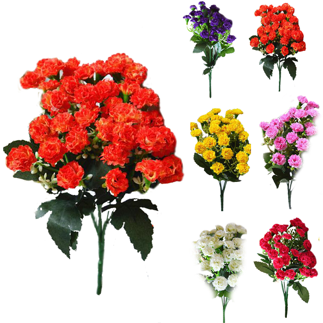 Fashion Artificial Silk Flowers Carnation 30 Buds Flowers 6 Branches 1 Bouque
