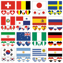 NEW 10Pcs/Lot 32 Countries Flag Tattoo Body Stickers 6*6cm Football Funs Water Transfer Face Stickers Football Theme Tattoo(China)