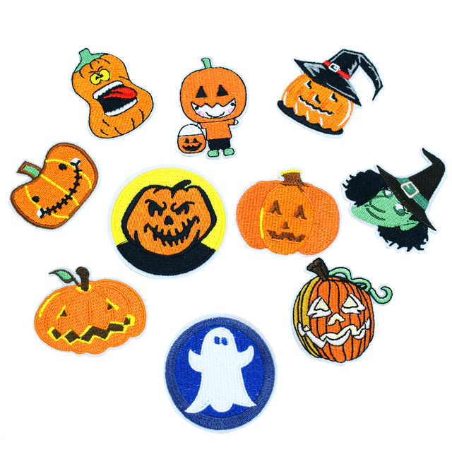 10pcs halloween stripe patches for kid clothes iron on patch applique embroidered diy patches labels backpack