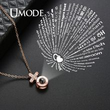 UMODE Female Cross Long Chain Pendant I Love You Initial Necklace 100 Language Women halskette Accessories Femme Jewelry UN0315(China)