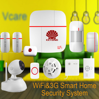 Vcare WIFI 3G WCDMA Smart Home Alarm Security System With Wireless Detector Sensor SOS Button HD
