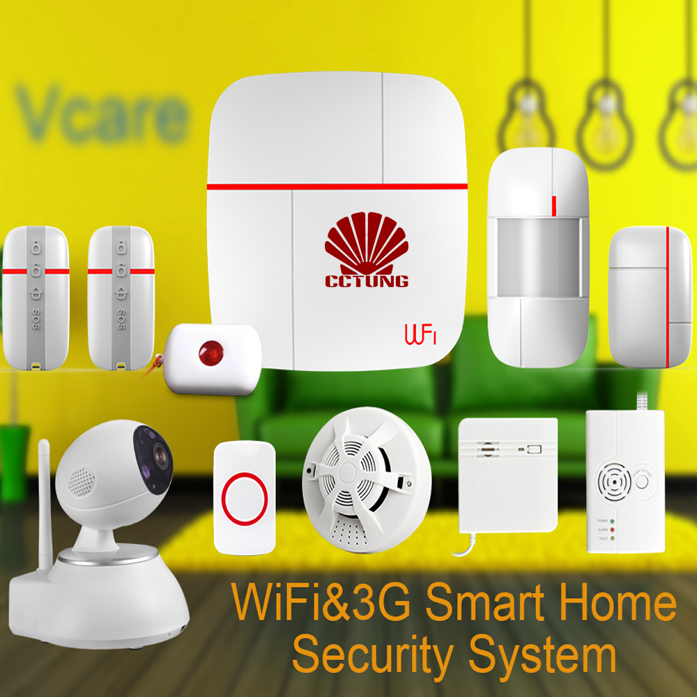 Ver C Vcare WIFI WCDMA 3G Smart Home Alarm Security System with Wireless Detector Sensor SOS Button & PTZ HD IP Camera Combined