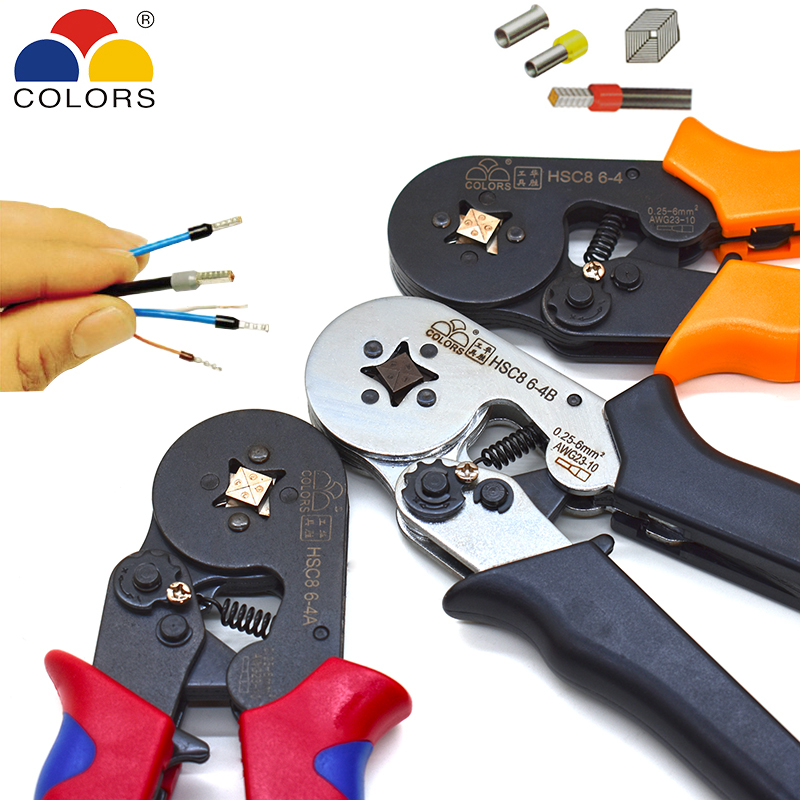 COLORS HSC8 6 4 0.25 6mm2 23 10AWG crimping pliers 700pcs terminals for tube type needle type terminal crimp self adjusting tool|Pliers|   - title=