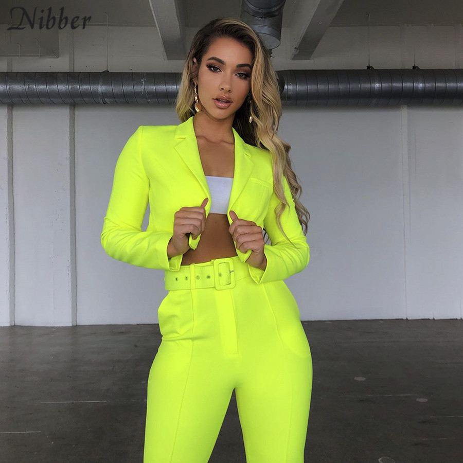 Nibber Neon Color Thin Coat Cardigan Pantalon Femme 2two Pieces Suits Womens 2019 Autumn Winter Office Ladies Street Casual Sets
