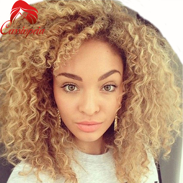 Kinky Curly Blonde Human Hair Wigs Glueless Brazilian Remy Blonde Lace  Front Wigs For Caucasian c6707c704c76