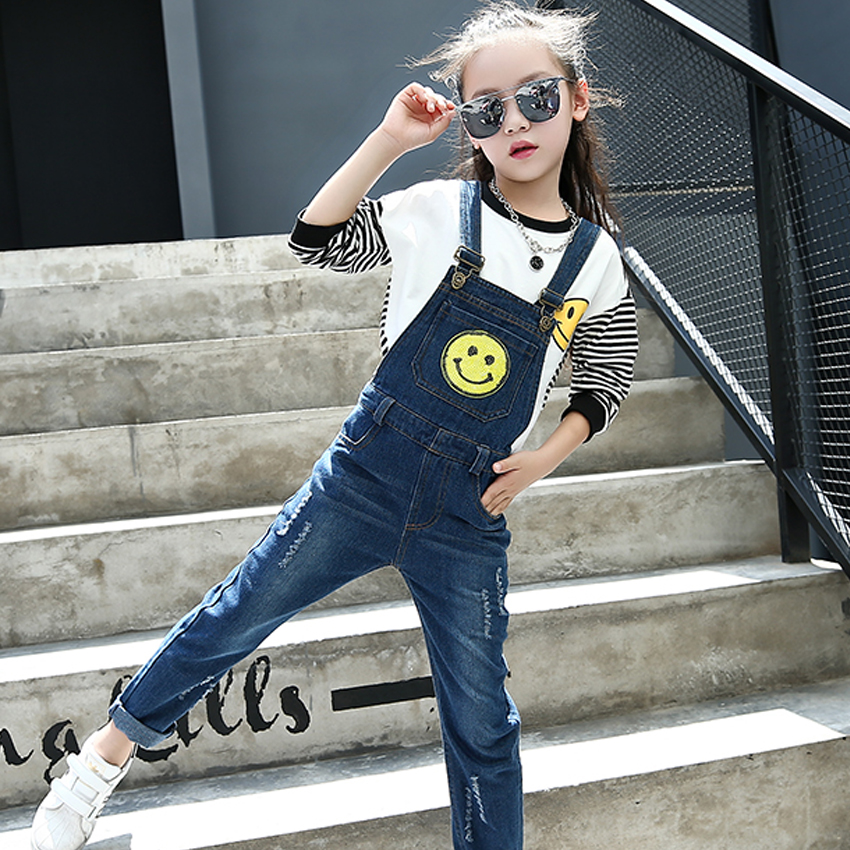 Kids Overalls for Girls Jeans Pants for Children Smile Denim Jumpsuit Infant Trousers 4 8 9 10 11 12 Years Girls Ripped Overalls стоимость