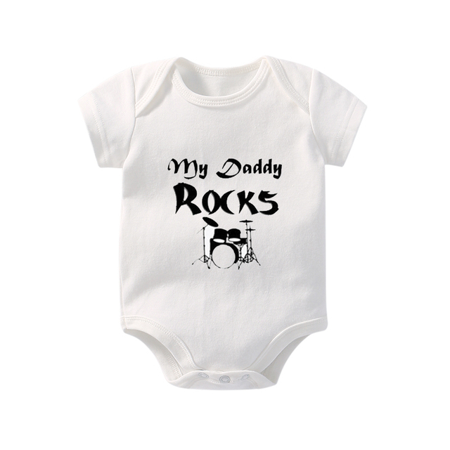 2bd4ef34ad7d Culbutomind 2017 Baby Body suits Dad Letter White Short Sleeve Cute ...