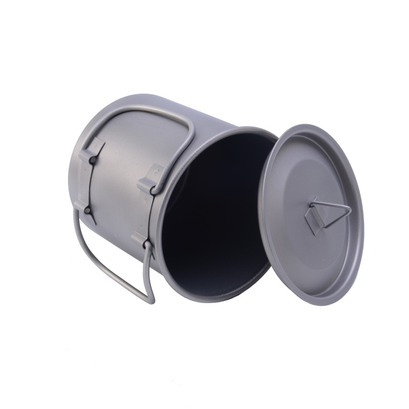 Image 4 - 400ml Titanium Pot Titanium Water Mug Cup With Bowl Cover Foldable Handle Outdoor Camping Pot Cooking Pots Picnic Hang Pot-in Outdoor Tablewares from Sports & Entertainment