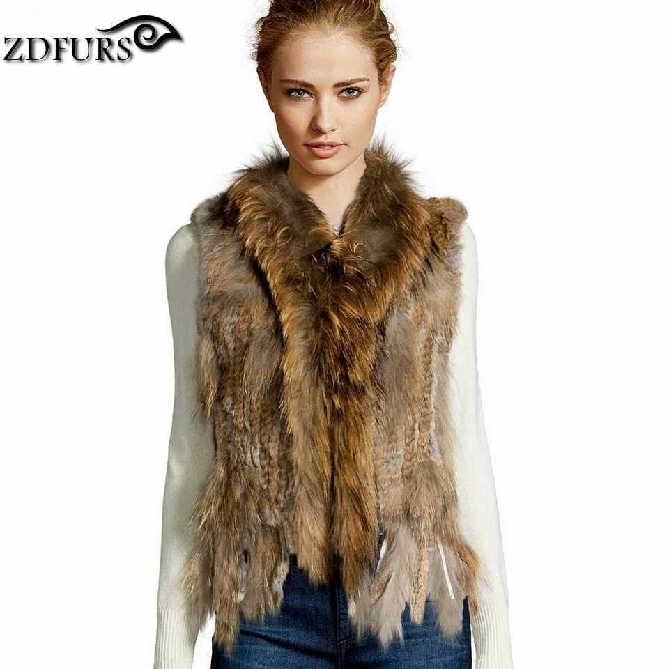 ZDFURS * high quality  hot sale knitted rabbit fur vest raccoon dog fur collar  knitted vest rabbit fur waistcoat   ZDKR-165005