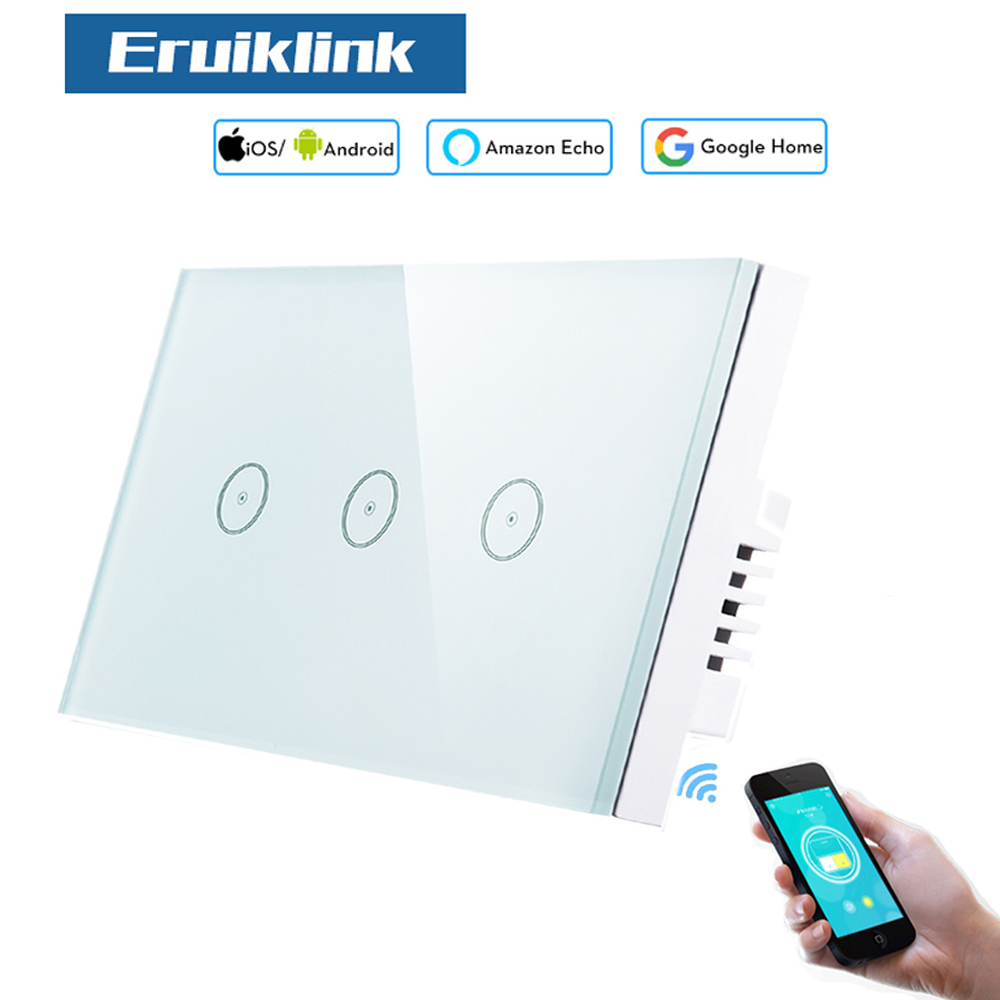 Eruiklink Smart Wi-Fi Light Switch, Glass Panel 3 gang US Touch Light Switch 110V~240V, Working with Alexa and Google Home eruiklink us standard smart wi fi switch button glass panel 1 gang touch light switch panel wifi alexa echo wall switch 110 240v
