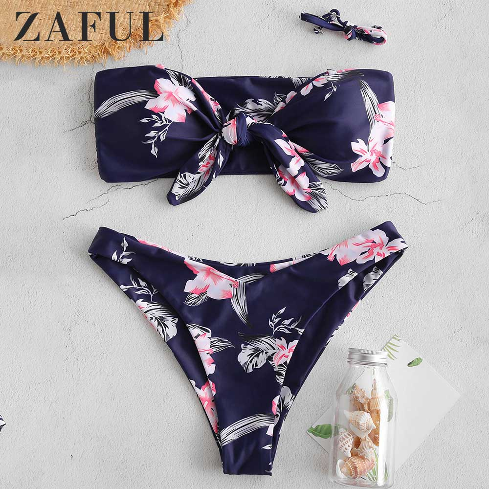 ZAFUL Bandeau Bikini Side Boning Floral Tie Front Bikini Set Wire Free Women Strapless Swimsuit Bathing Suit Sexy Swimwear 2019