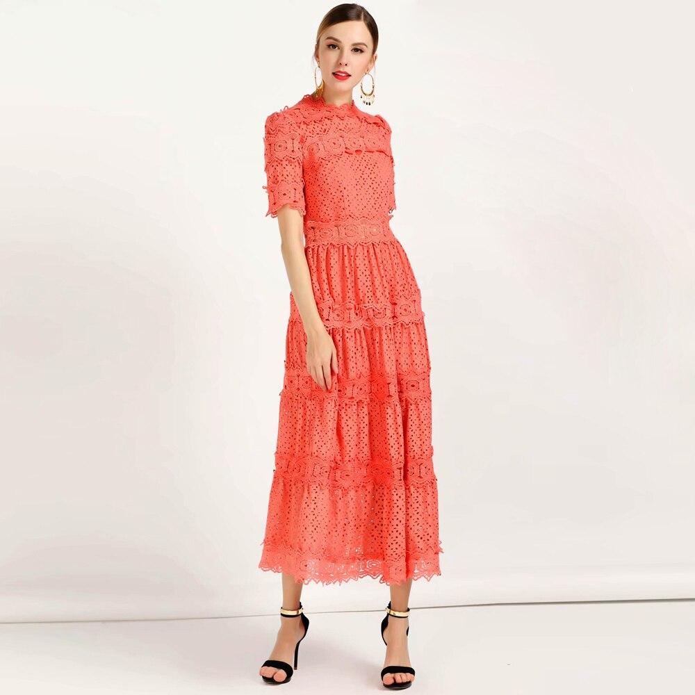 Kadın Giyim'ten Elbiseler'de Kırmızı RoosaRosee Moda Pist Elbise Yaz Kadın Elbise Kısa kollu Çiçek Nakış Oymak Zarif Vestidos Robe Femme'da  Grup 3