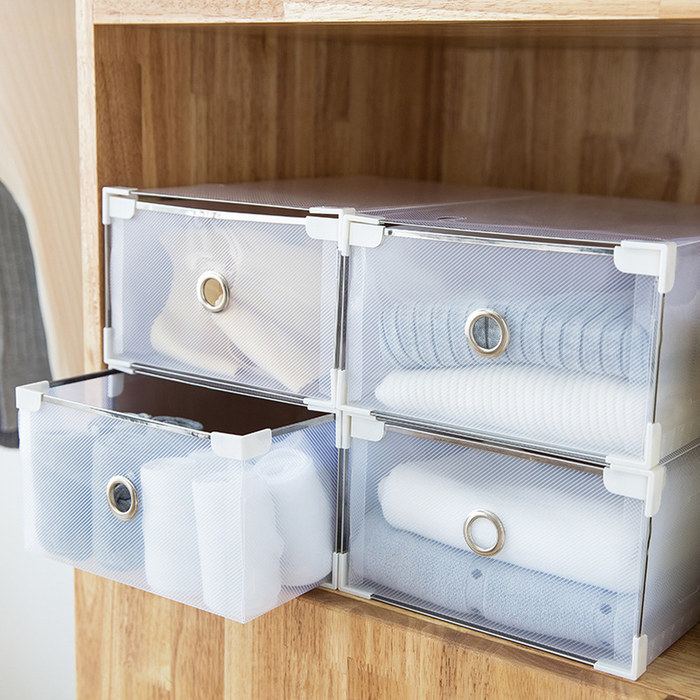5PCS Foldable Clear Plastic Shoe Box Transparent Drawer Shoes Home Storage Box Organizer Drawer Stackable Storage Box